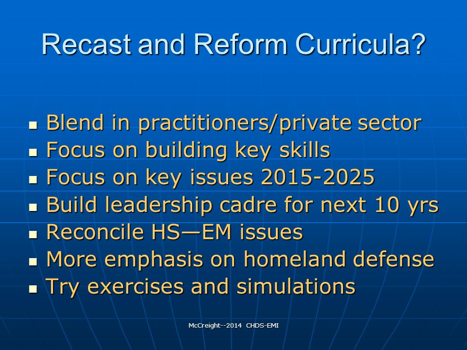 McCreight--2014 CHDS-EMI Recast and Reform Curricula.