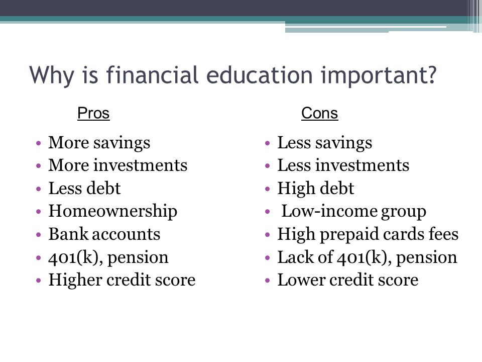 Why is financial education important.
