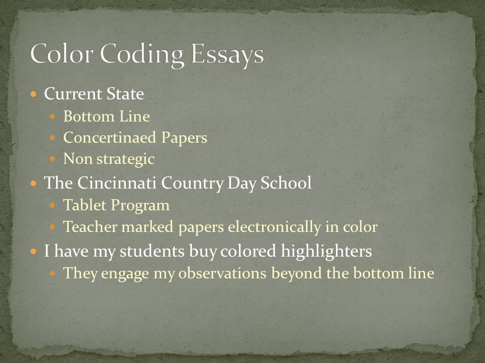 Current State Bottom Line Concertinaed Papers Non strategic The Cincinnati Country Day School Tablet Program Teacher marked papers electronically in color I have my students buy colored highlighters They engage my observations beyond the bottom line