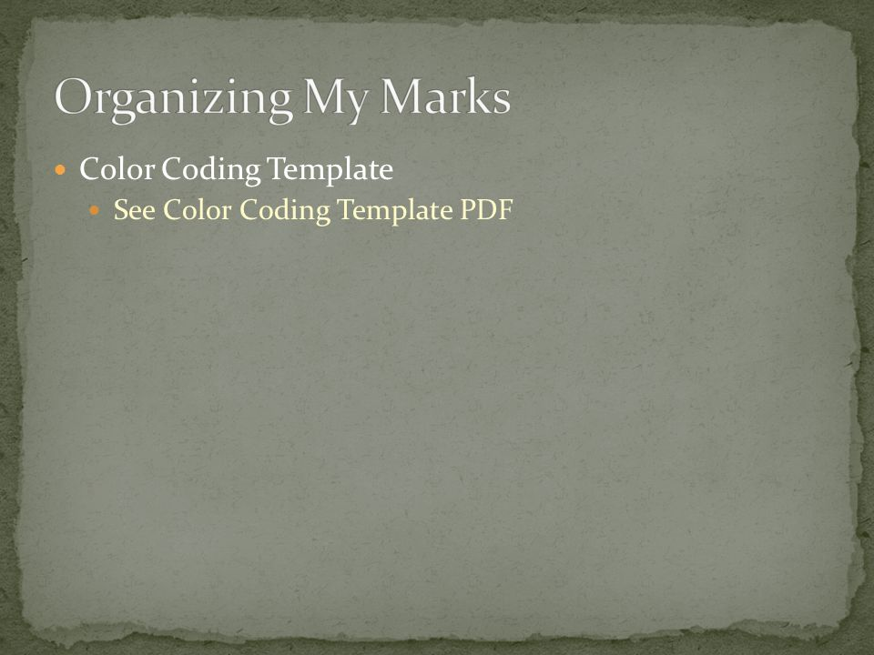 Color Coding Template See Color Coding Template PDF
