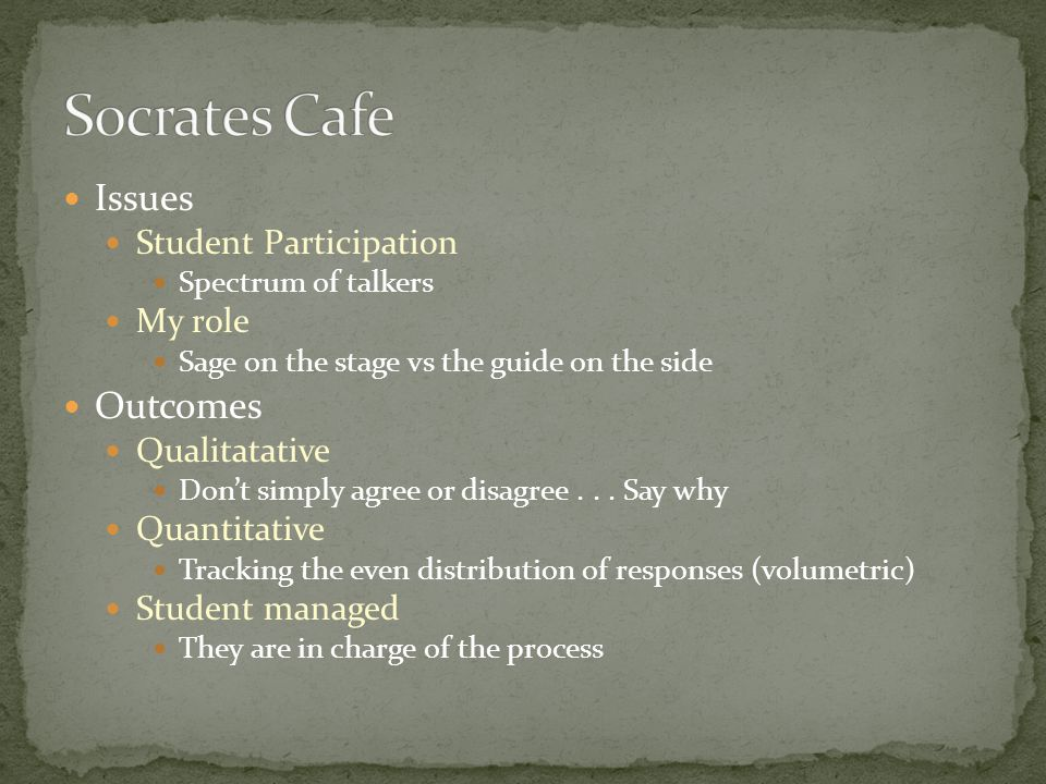 Issues Student Participation Spectrum of talkers My role Sage on the stage vs the guide on the side Outcomes Qualitatative Don't simply agree or disagree...