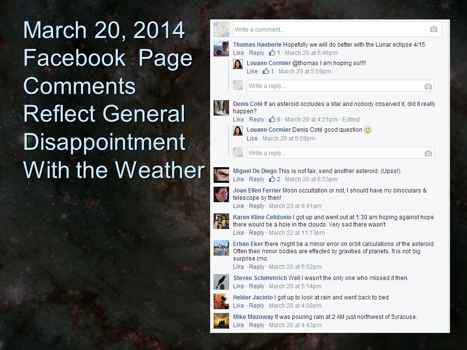 March 20, 2014 Facebook Page Comments Reflect General Disappointment With the Weather