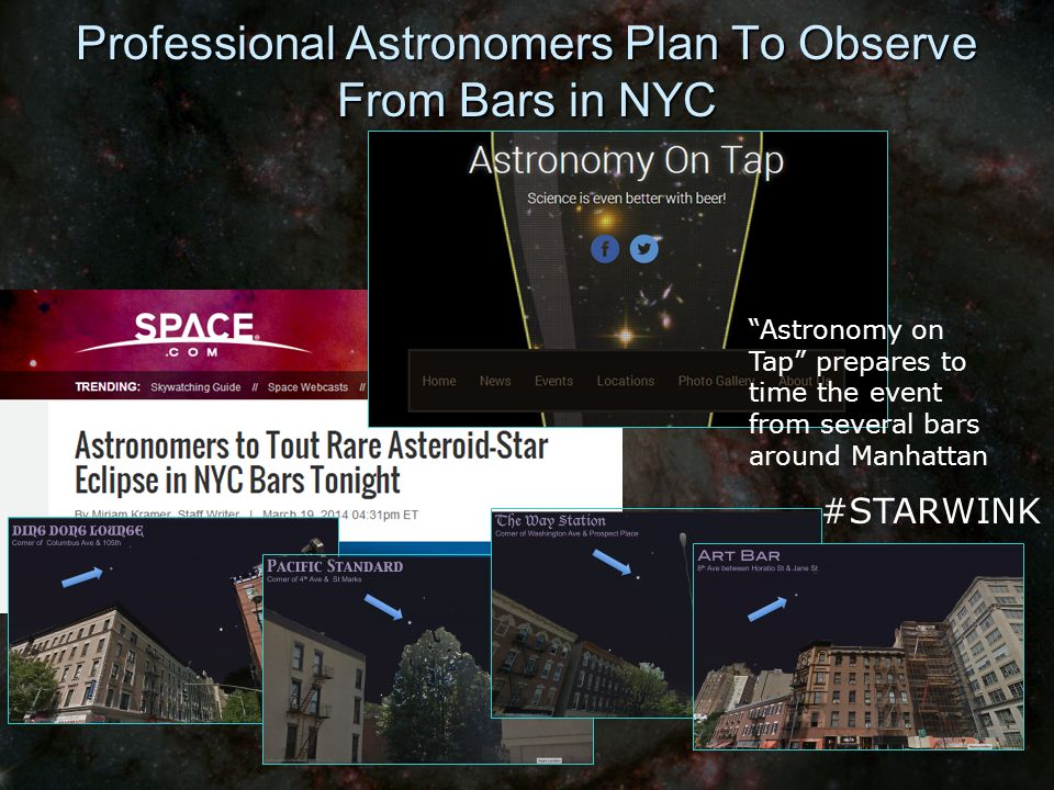 Professional Astronomers Plan To Observe From Bars in NYC #STARWINK Astronomy on Tap prepares to time the event from several bars around Manhattan