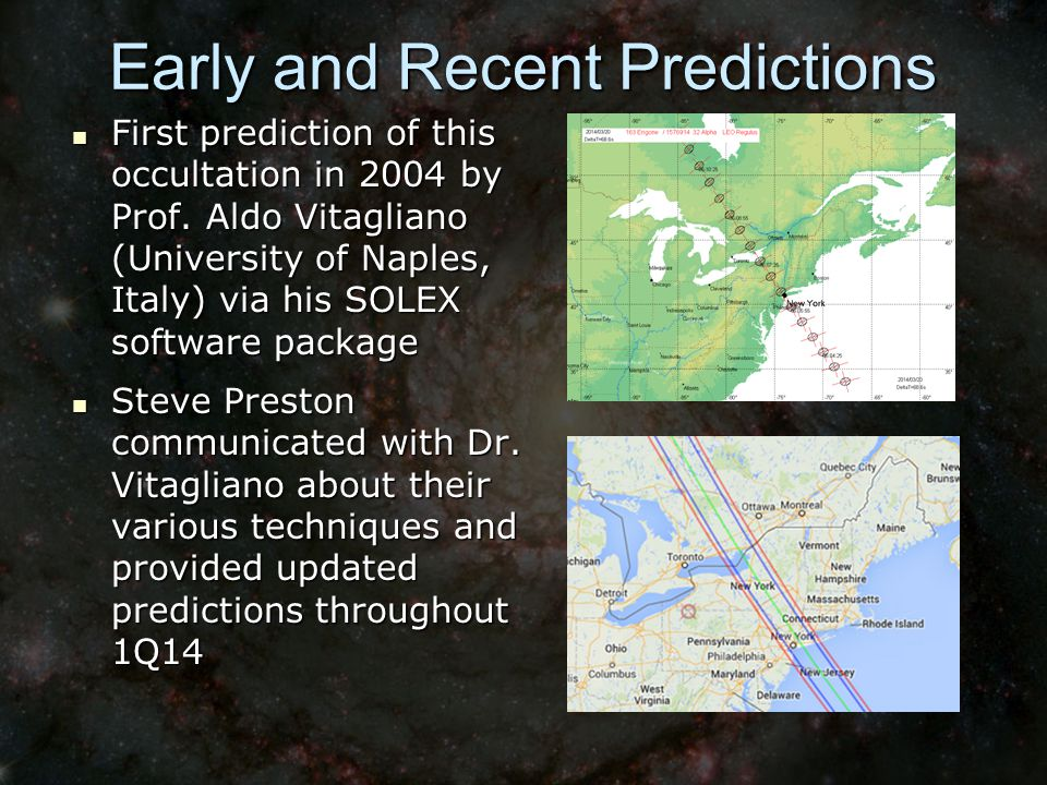 Early and Recent Predictions First prediction of this occultation in 2004 by Prof.