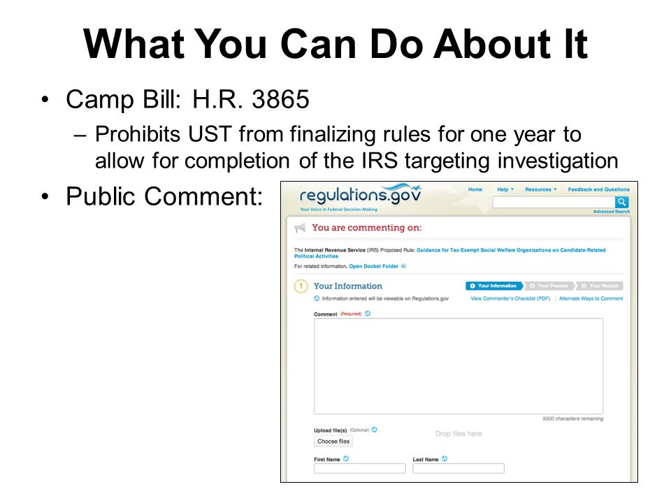 What You Can Do About It Camp Bill: H.R.