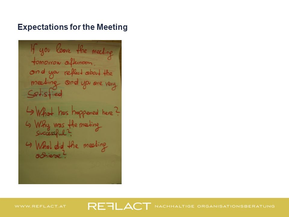 Expectations for the Meeting