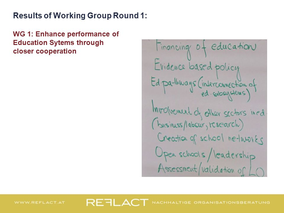 Results of Working Group Round 1: WG 1: Enhance performance of Education Sytems through closer cooperation