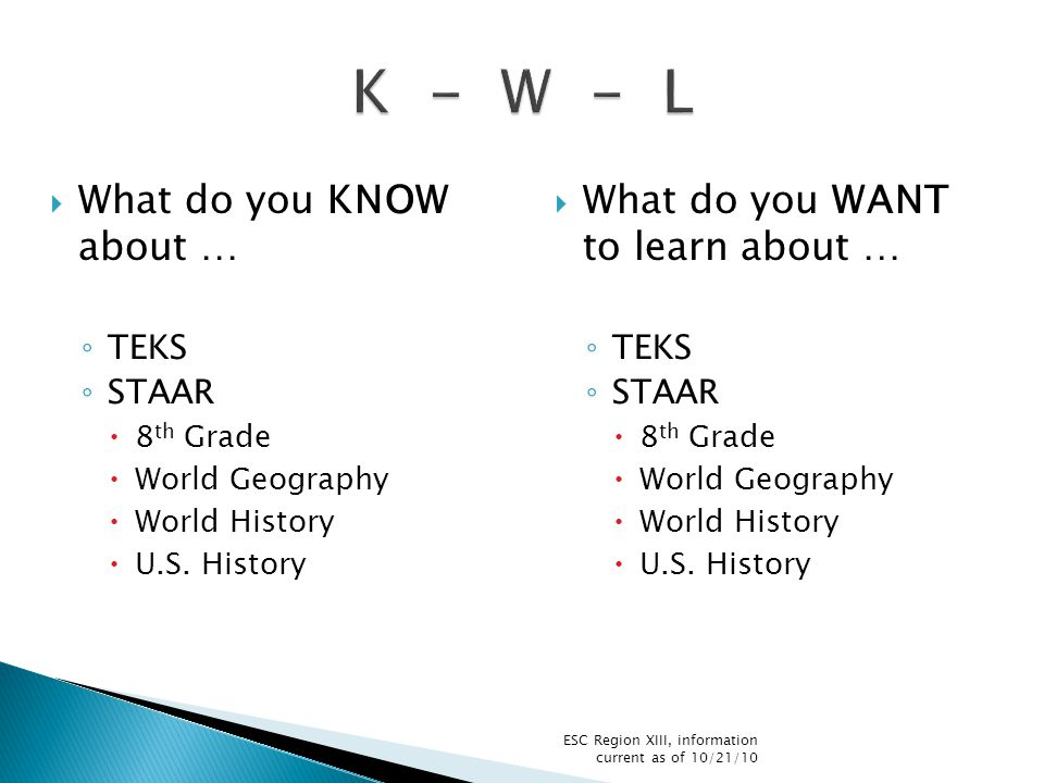  8 th Grade STAAR  World Geog, World History, US History  Will be based on the revised standards  ALL OF THE REVISED STANDARDS ARE ELGIBLE FOR ASSESSMENT (not just the ones that match with the current standards) ESC Region XIII, information current as of 10/21/10