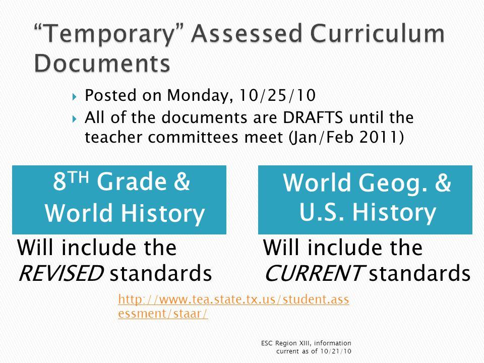 8 TH Grade & World History World Geog. & U.S.