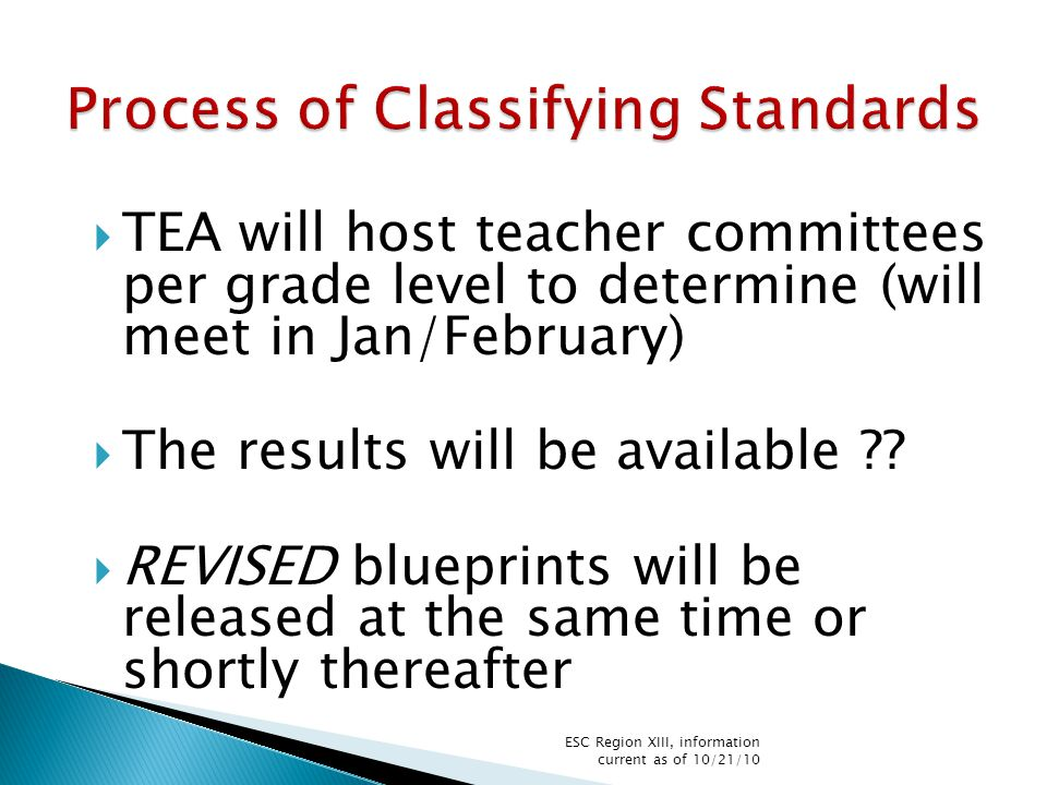  TEA will host teacher committees per grade level to determine (will meet in Jan/February)  The results will be available ?.