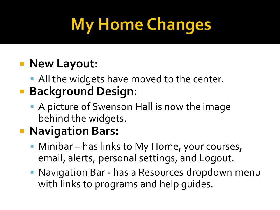  New Layout:  All the widgets have moved to the center.
