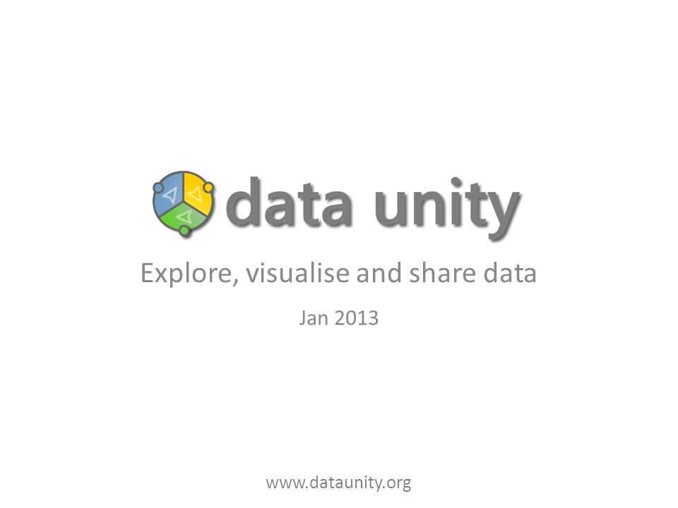 www.dataunity.org Explore, visualise and share data Jan 2013