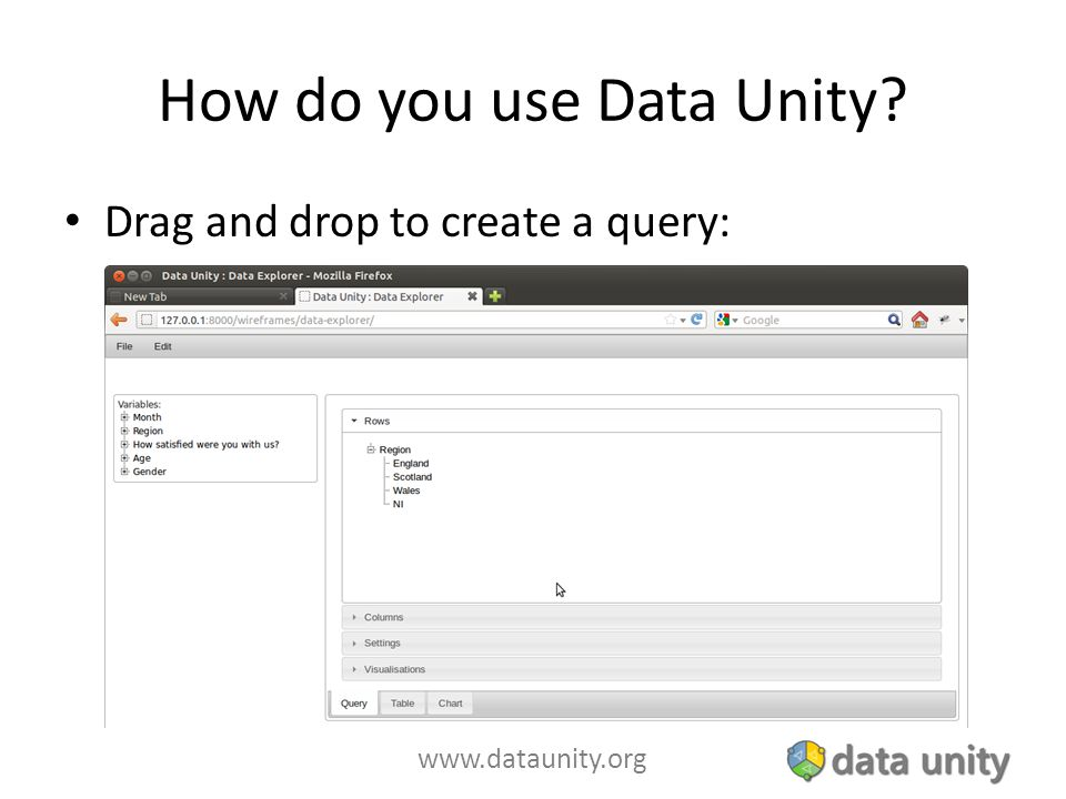www.dataunity.org How do you use Data Unity? Drag and drop to create a query: