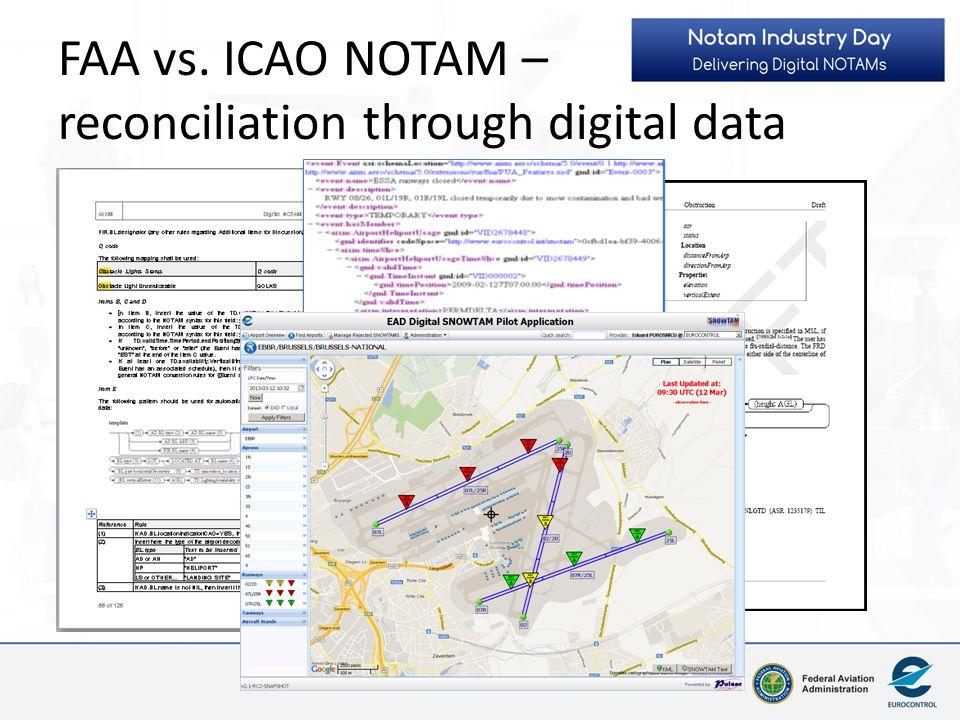 FAA vs. ICAO NOTAM – reconciliation through digital data
