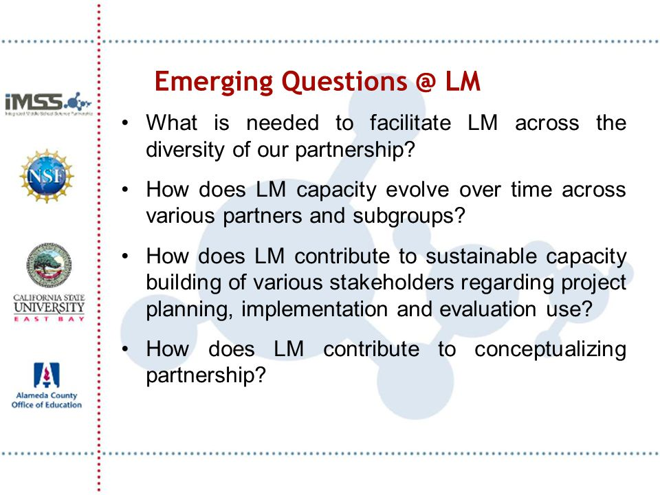 Emerging Questions @ LM What is needed to facilitate LM across the diversity of our partnership? How does LM capacity evolve over time across various