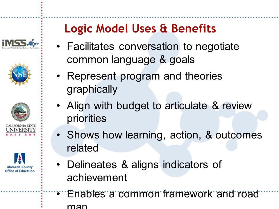 Logic Model Uses & Benefits Facilitates conversation to negotiate common language & goals Represent program and theories graphically Align with budget