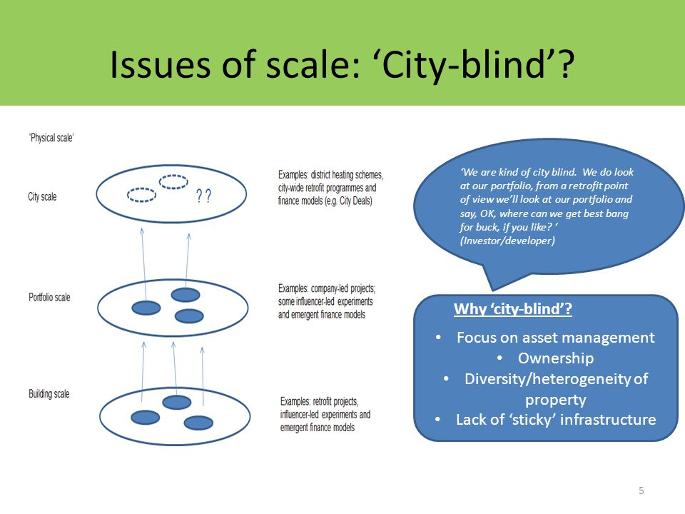 Issues of scale: 'City-blind'. 5 'We are kind of city blind.