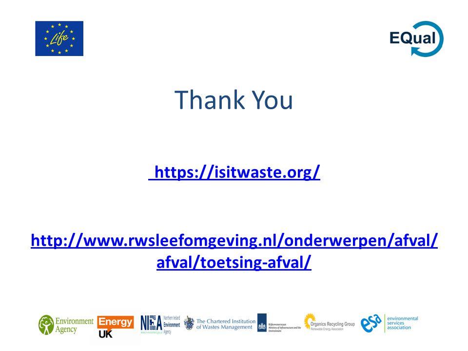 Thank You https://isitwaste.org/ http://www.rwsleefomgeving.nl/onderwerpen/afval/ afval/toetsing-afval/ https://isitwaste.org/ http://www.rwsleefomgeving.nl/onderwerpen/afval/ afval/toetsing-afval/