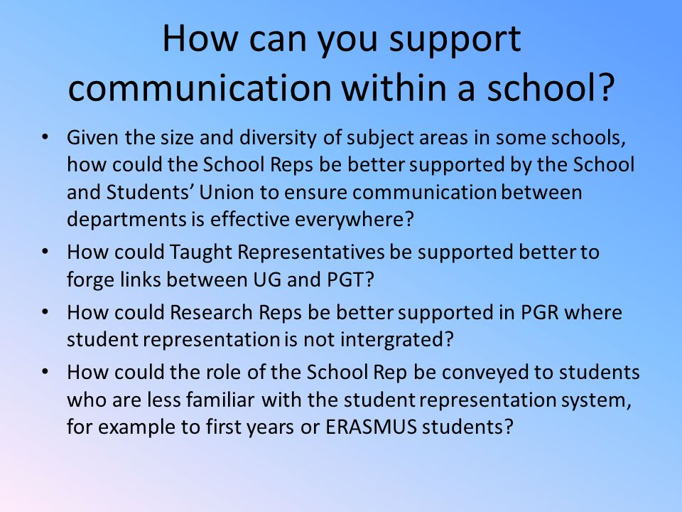 How can you support communication within a school.