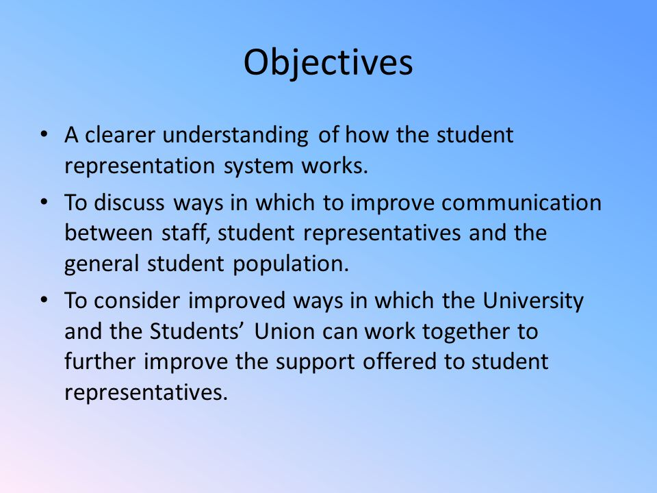 Objectives A clearer understanding of how the student representation system works.