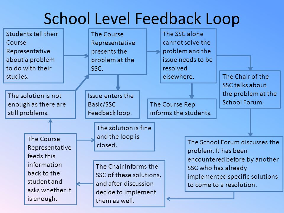 School Level Feedback Loop Students tell their Course Representative about a problem to do with their studies.