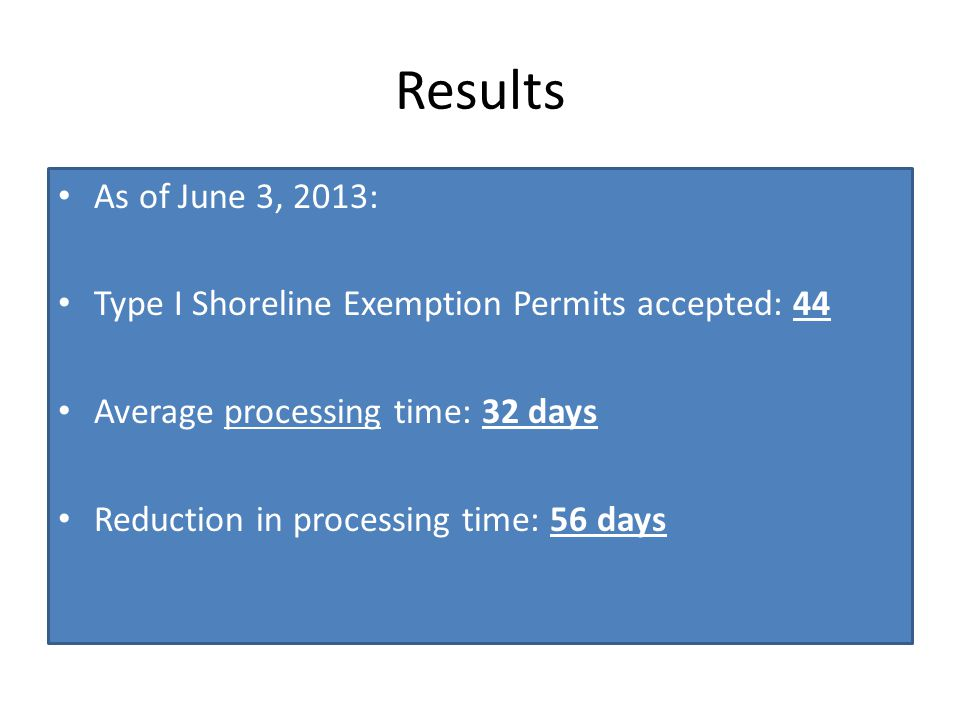 Results As of June 3, 2013: Type I Shoreline Exemption Permits accepted: 44 Average processing time: 32 days Reduction in processing time: 56 days