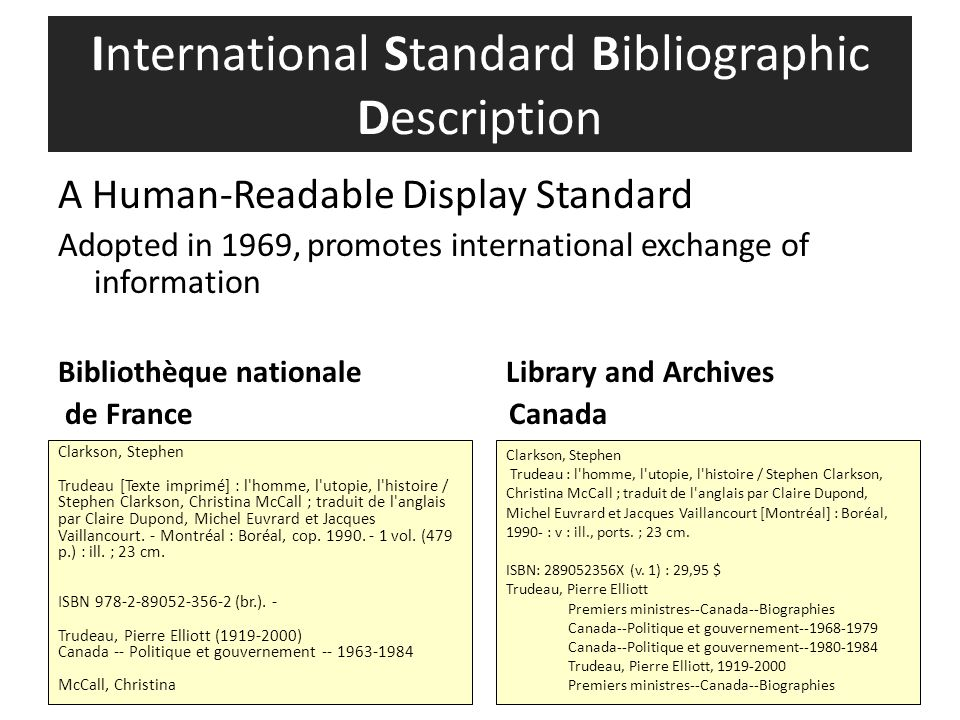A Human-Readable Display Standard Adopted in 1969, promotes international exchange of information Bibliothèque nationale Library and Archives de Franc