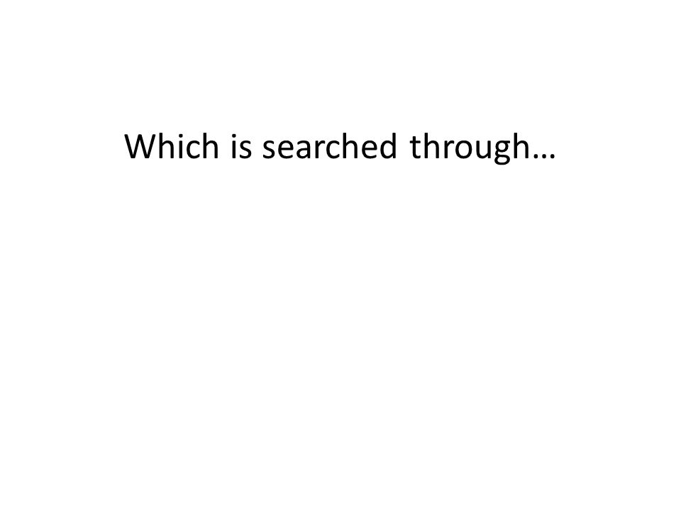 Which is searched through…