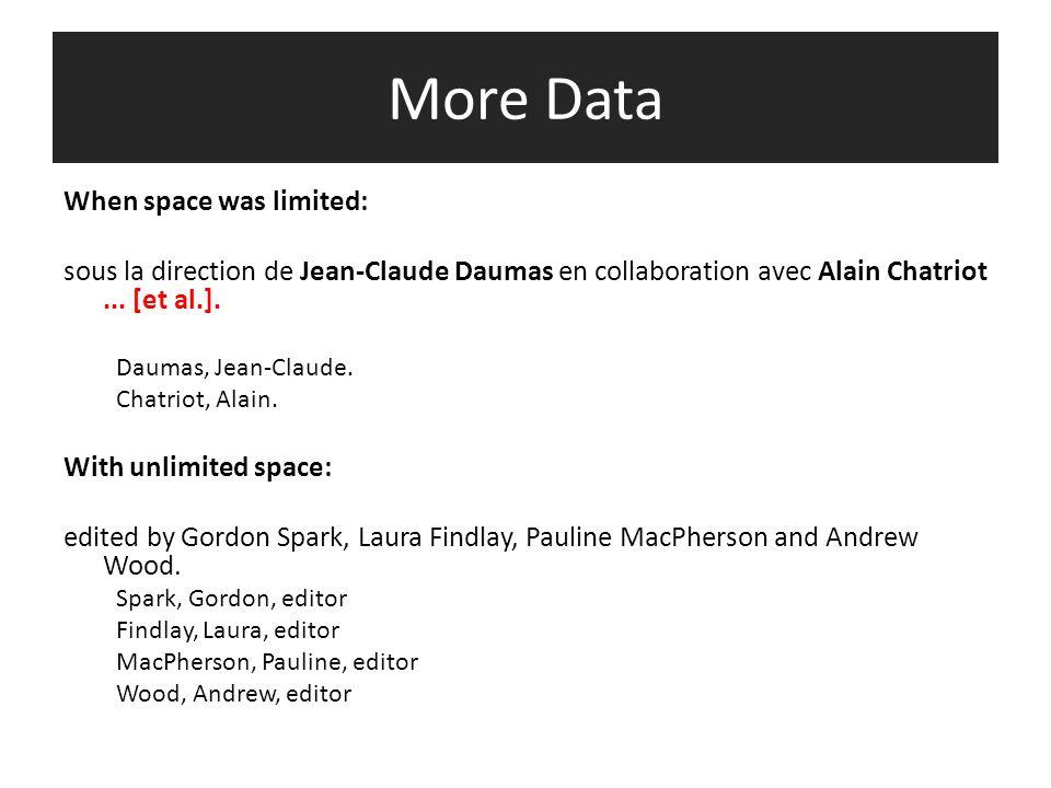 More Data When space was limited: sous la direction de Jean-Claude Daumas en collaboration avec Alain Chatriot...