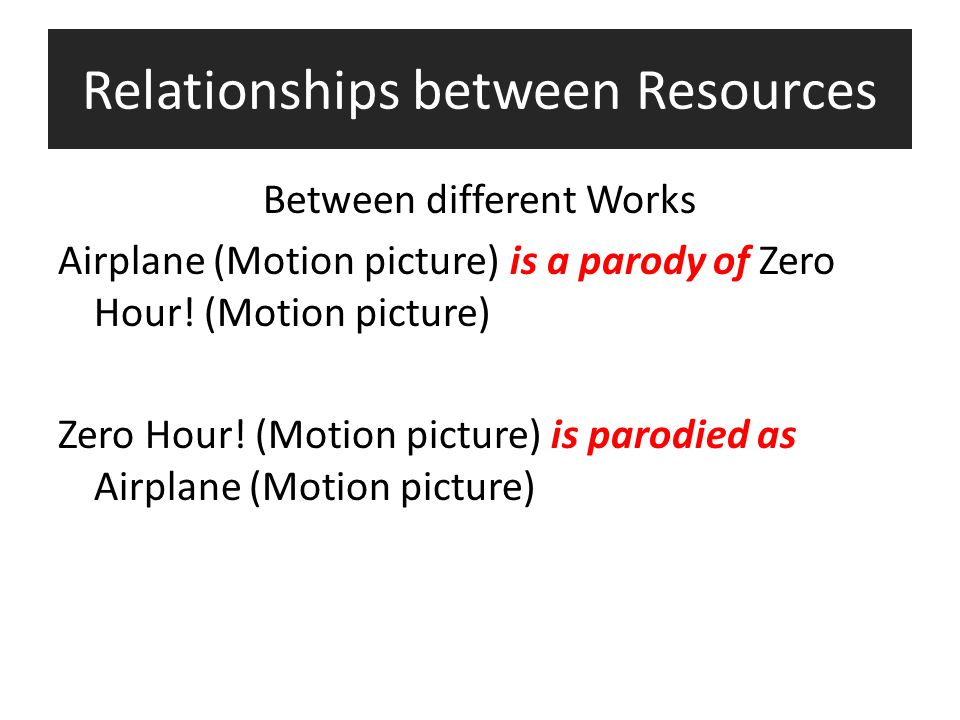 Relationships between Resources Between different Works Airplane (Motion picture) is a parody of Zero Hour! (Motion picture) Zero Hour! (Motion pictur