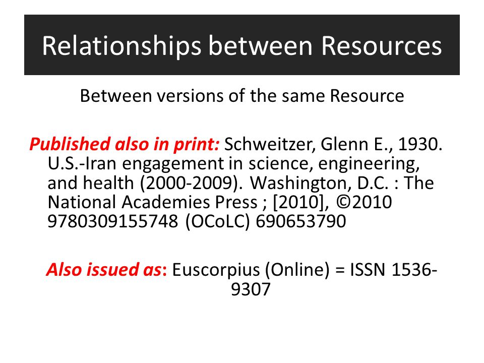 Relationships between Resources Between versions of the same Resource Published also in print: Schweitzer, Glenn E., 1930.
