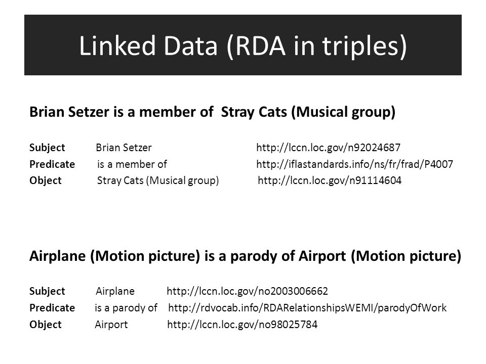 Linked Data (RDA in triples) Brian Setzer is a member of Stray Cats (Musical group) Subject Brian Setzer http://lccn.loc.gov/n92024687 Predicate is a
