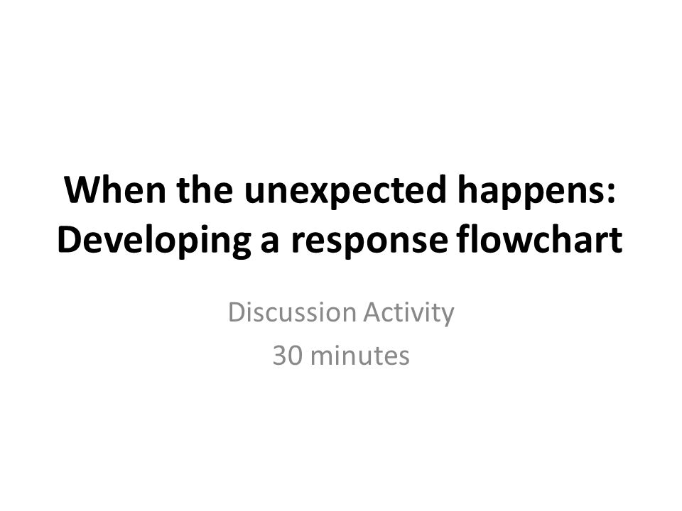 When the unexpected happens: Developing a response flowchart Discussion Activity 30 minutes