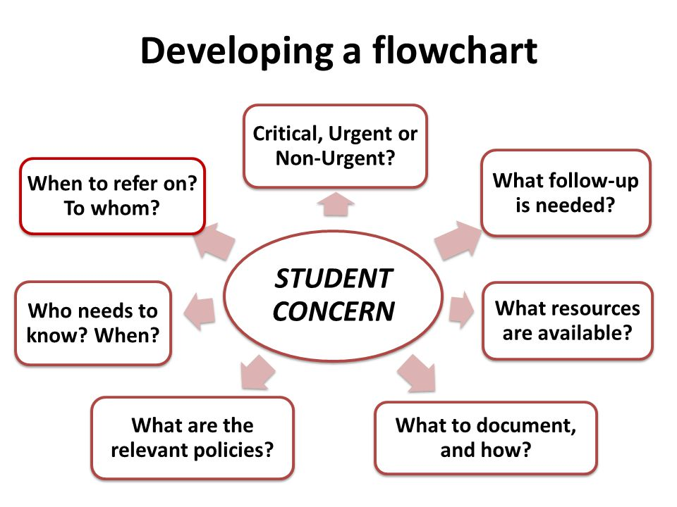 Developing a flowchart STUDENT CONCERN Critical, Urgent or Non-Urgent.