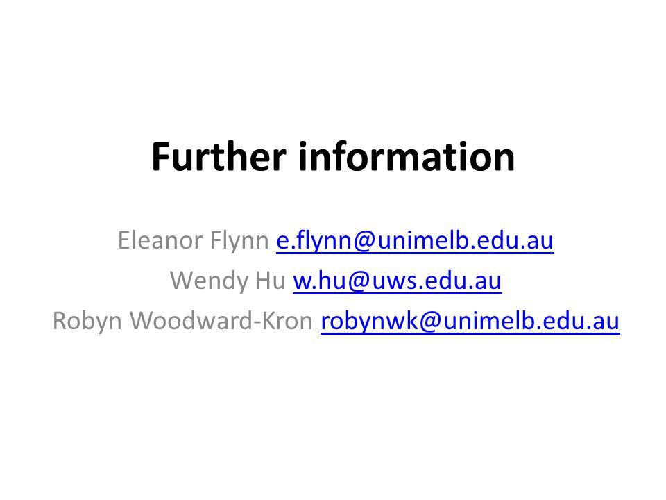 Further information Eleanor Flynn e.flynn@unimelb.edu.aue.flynn@unimelb.edu.au Wendy Hu w.hu@uws.edu.auw.hu@uws.edu.au Robyn Woodward-Kron robynwk@uni