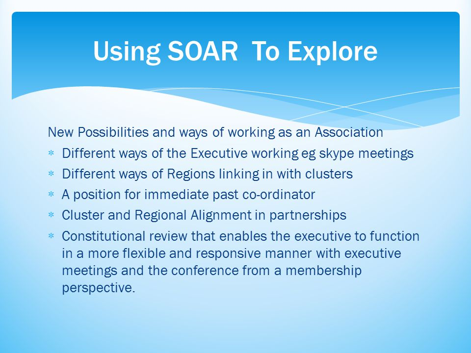 Objectives  Participants will understand the process of SOAR so that all members of the Association can engage in the growth of our organisation.