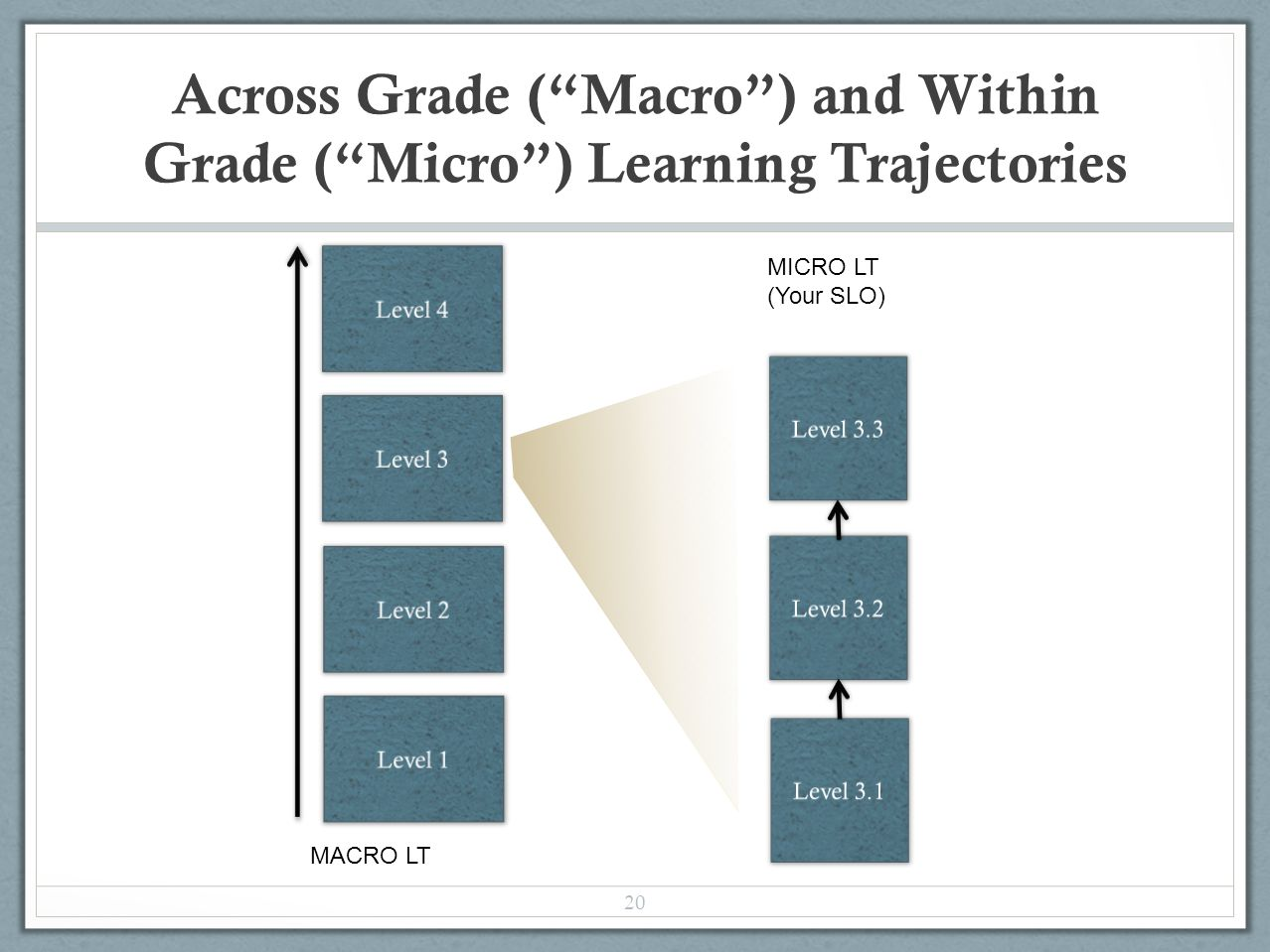 Across Grade ( Macro ) and Within Grade ( Micro ) Learning Trajectories 20 MACRO LT MICRO LT (Your SLO)