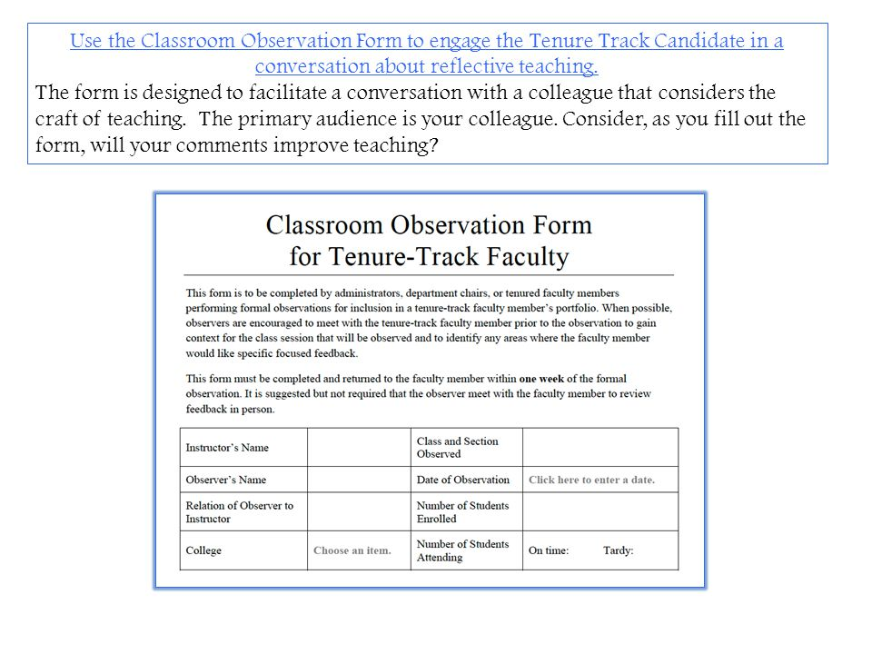 Use the Classroom Observation Form to engage the Tenure Track Candidate in a conversation about reflective teaching. The form is designed to facilitat