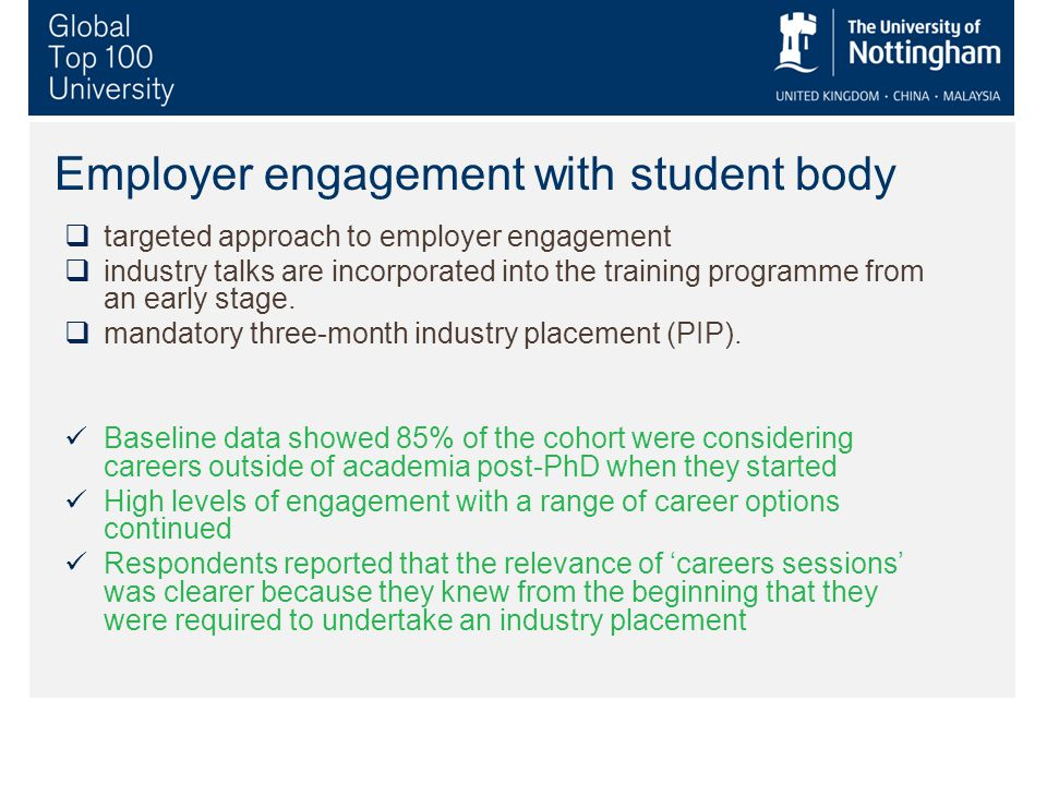 Employer engagement with student body  targeted approach to employer engagement  industry talks are incorporated into the training programme from an early stage.