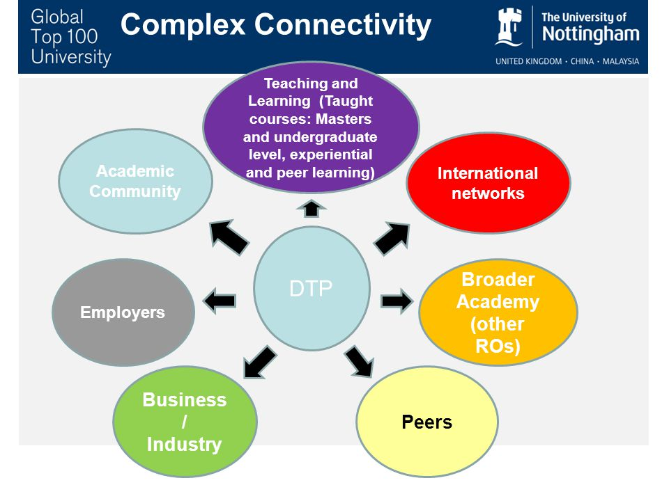 Academic Community International networks Broader Academy (other ROs) Peers Business / Industry Employers Teaching and Learning (Taught courses: Masters and undergraduate level, experiential and peer learning) DTP Complex Connectivity