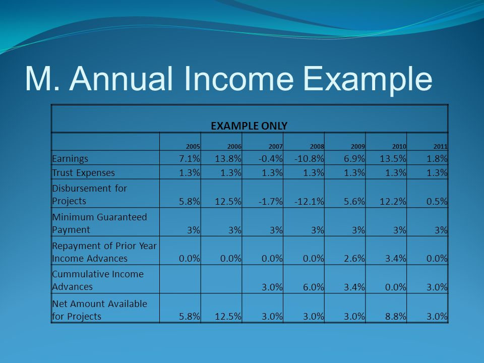 M. Annual Income Example EXAMPLE ONLY 2005200620072008200920102011 Earnings7.1%13.8%-0.4%-10.8%6.9%13.5%1.8% Trust Expenses1.3% Disbursement for Proje