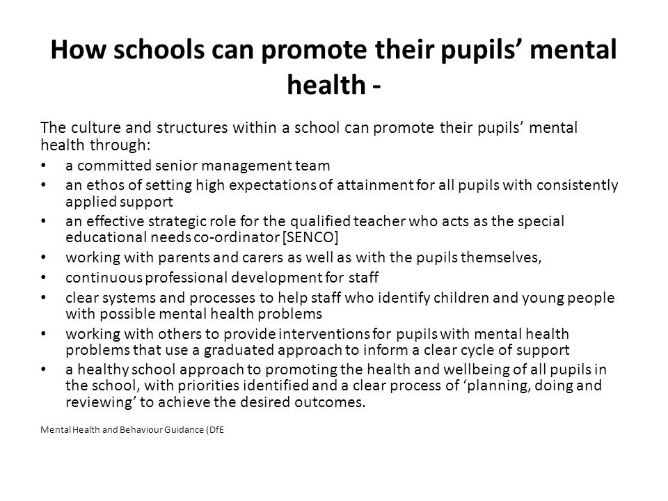How schools can promote their pupils' mental health - The culture and structures within a school can promote their pupils' mental health through: a co