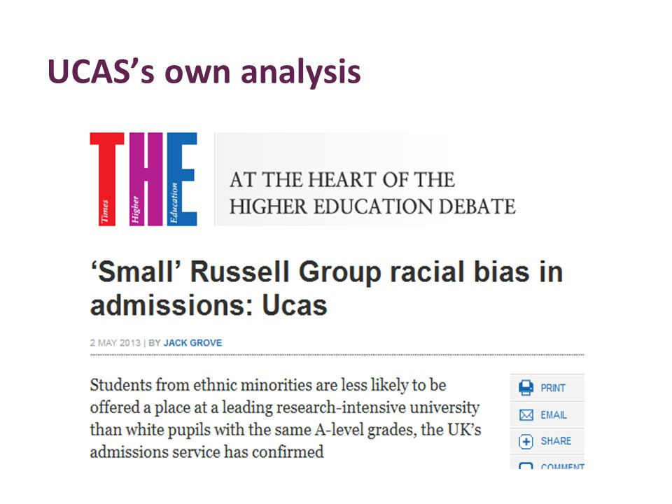 UCAS's own analysis