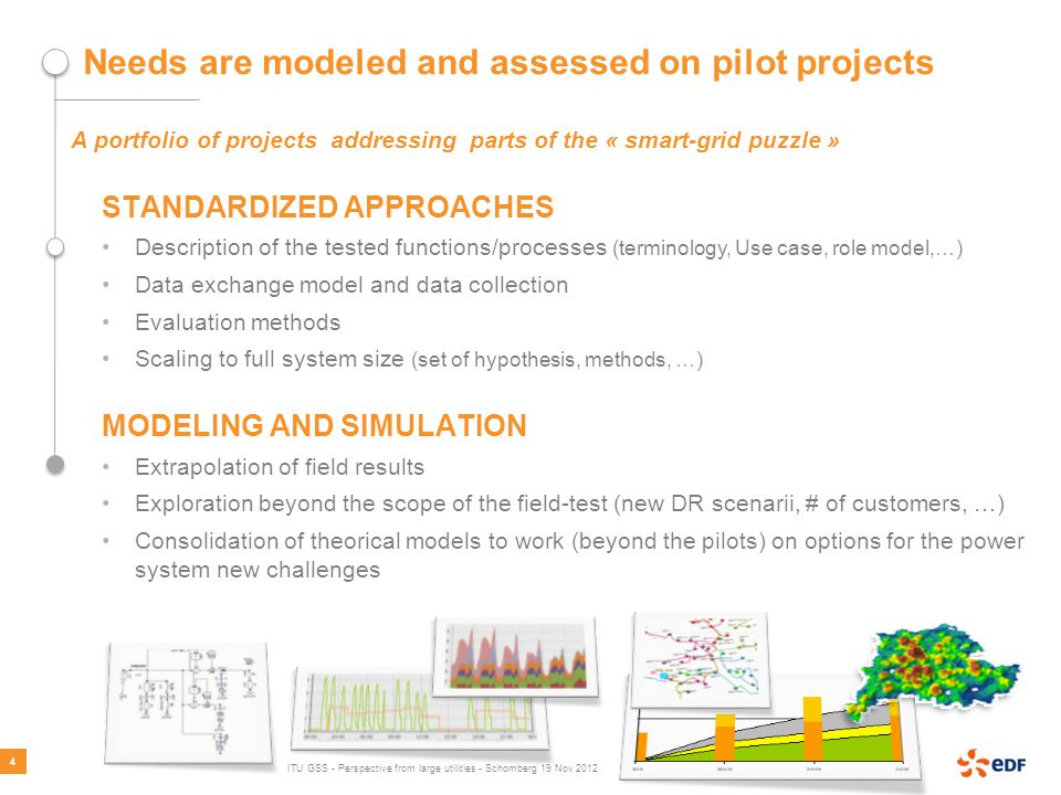 Needs are modeled and assessed on pilot projects A portfolio of projects addressing parts of the « smart-grid puzzle » STANDARDIZED APPROACHES Description of the tested functions/processes (terminology, Use case, role model,…) Data exchange model and data collection Evaluation methods Scaling to full system size (set of hypothesis, methods, …) MODELING AND SIMULATION Extrapolation of field results Exploration beyond the scope of the field-test (new DR scenarii, # of customers, …) Consolidation of theorical models to work (beyond the pilots) on options for the power system new challenges 4 ITU GSS - Perspective from large utilities - Schomberg 19 Nov 2012