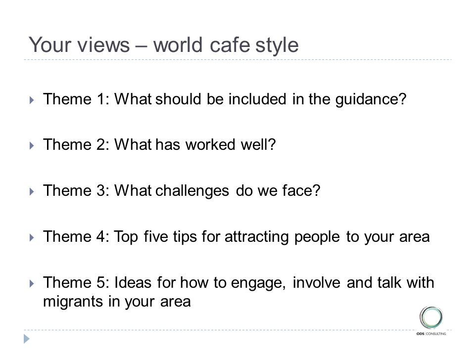 Your views – world cafe style  Theme 1: What should be included in the guidance.