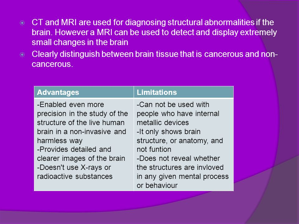  CT and MRI are used for diagnosing structural abnormalities if the brain.
