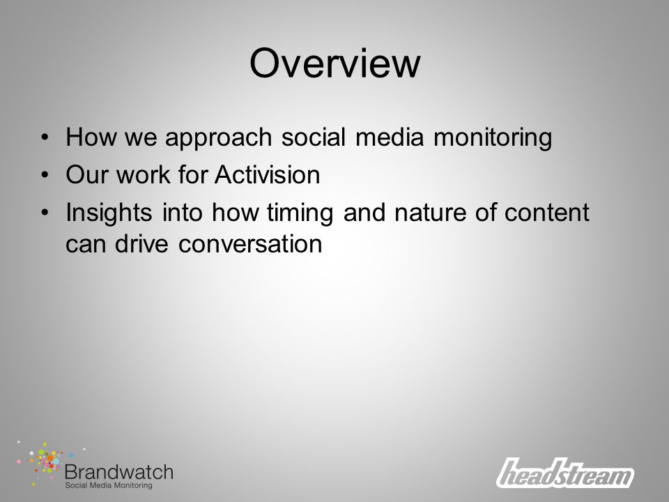 Overview How we approach social media monitoring Our work for Activision Insights into how timing and nature of content can drive conversation