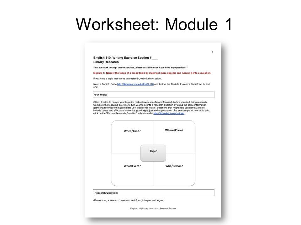 Worksheet: Module 1