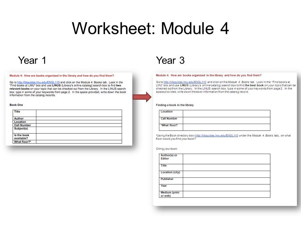 Worksheet: Module 4 Year 1Year 3
