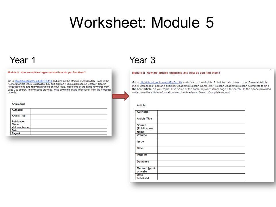 Worksheet: Module 5 Year 1Year 3